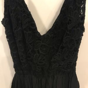 Black Lace Maxi Open Back Maxi Dress